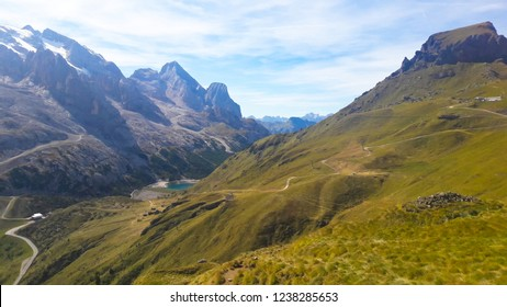 Marmolada massif. Dolomites Italy. Beautiful view over the Marmolada glacier. Alps Mountain landscape.
