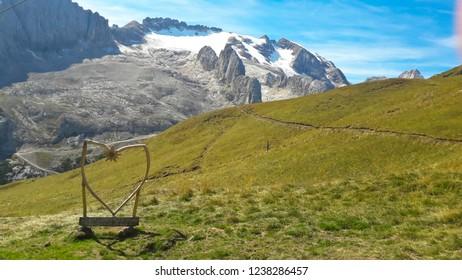 Marmolada massif. Dolomites Italy. Beautiful view from refuge Padon to the Marmolada glacier. Alps Mountain landscape.