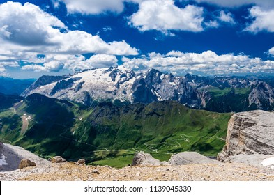 Marmolada massif, Dolomiti, Itay. Beautiful view over the Marmolada glacier and Pordoi Pass from gruppo Sella and Piz Boe peak