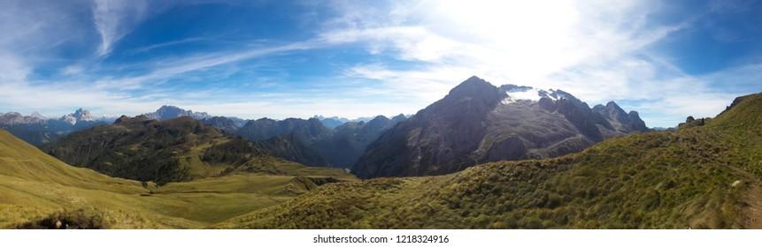Marmolada massif, Dolomiti, Itay. Beautiful view over the Marmolada glacier.