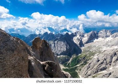 Marmolada massif, Dolomiti, Itay. Spectacular view over the Punta Rocca and other peaks in Dolomites mountains