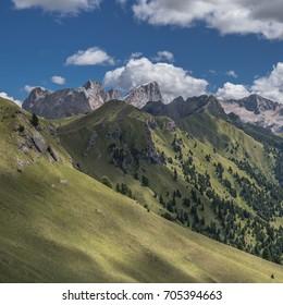 Marmolada massif with Punta Penia, Gran  Vernel & Picol Vernel summits as seen from Valvacin pass on Buffaure ski-area, above Meida village, Dolomites, Trentino, Alto Adige, South Tyrol, Italy