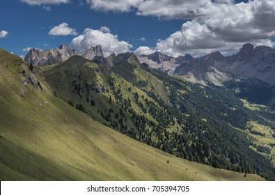 Marmolada massif with Punta Penia, Gran  Vernel & Picol Vernel summits as seen from Valvacin pass on Buffaure ski-area, above Meida village, Dolomites, Trentino, Alto Adige, South Tyrol, Italy