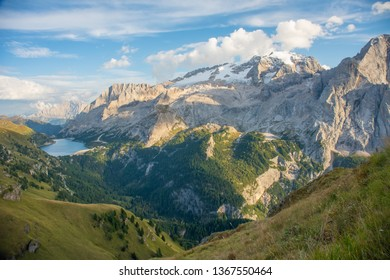 Marmolada mountain and Fedaia Lake. Marmolada is the highest mountain of the Dolomites, situated in northeast of Italy.