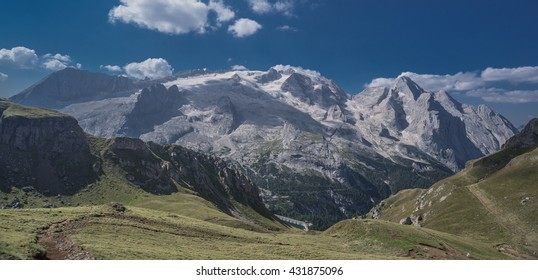 Marmolada mountain massif with Punta Penia and Gran Vernel summits as seen from Porta Vescovo cable car station, Dolomites, Arabba village, town of Canazei, Trentino, Alto-Adige, South Tyrol, Italy