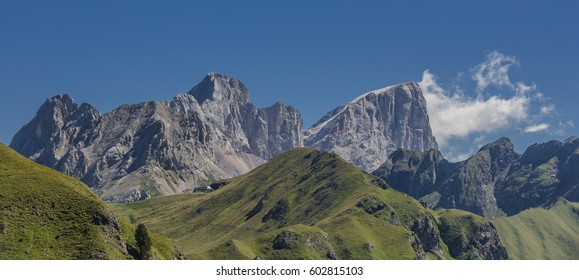 Marmolada mountain massif with southwest wall of Punta Penia summit & Gran Vernel southwest face as seen from Pozza-Bufaure mountain, Col [pass] de Valvacin, Dolomites, Trentino, South Tyrol, Italy