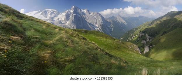 Marmolada, view from Padon Ridge, Dolomiti, Italy.