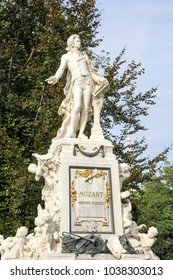 The marmor statue of the great musician Wolfgang Amadeus Mozart at Burggarten, Vienna, Austria (built in 1896)