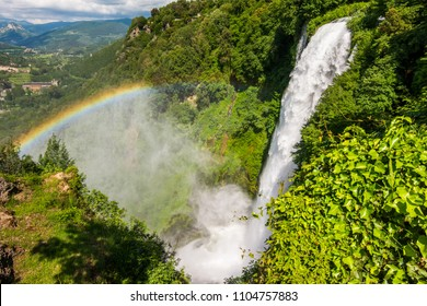 Marmore falls, Cascata delle Marmore, in Umbria, Italy. The tallest man-made waterfall in the world.