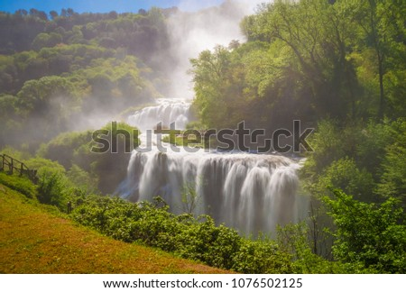 Marmore (Terni), Italy - 21 April 2018 - The 'Cascata delle Marmore' is a touristic park with a man-made waterfall created by the ancient Romans. The fall of Velino river in total is height 165 meters