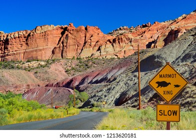 Marmot xing sign in the Fruita Capitol reef national park with mountains background