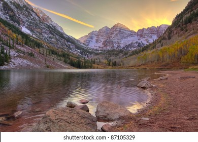 Maroon Bells in late afternoon light, from Maroon Lake