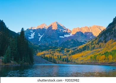 Maroon Bells at  with morning glow