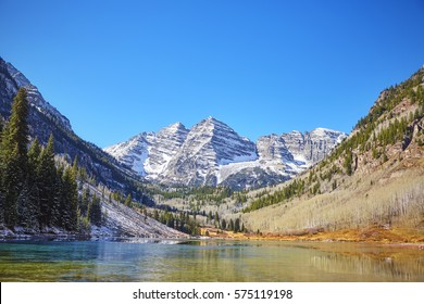 Maroon Bells mountain lake  landscape, Aspen in Colorado, USA.