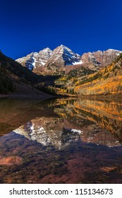 Maroon Bells Mountain Peaks with reflected