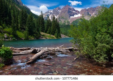 Maroon Bells Peaks at Maroon Lake with logs, Summer 2012