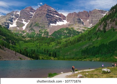 Maroon Bells Peaks at Maroon Lake, Summer 2012 with hikers
