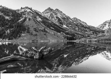 Maroon Bells and its Reflection in the Lake Black and White photo