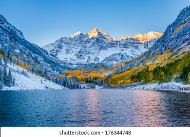 Maroon bells at sunrise, Aspen, CO.