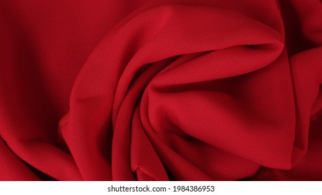 Maroon color chiffon fabric texture seamless with beautiful closeup detail fabric. Luxury chiffon textile pattern with soft and delicate material.