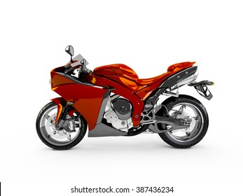 Maroon motorcycle isolated on a white background