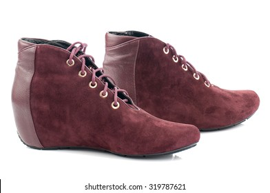 Maroon shoes isolated on white background