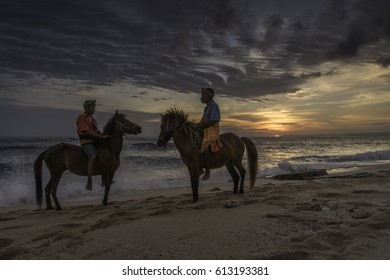 Marosi beach, West Sumba, NTT, Indonesia - March 24, 2017 : The horse men of Sumba
