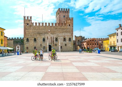 Marostica, Italy - May 26, 2017: The square where the traditional chess game is played with the Lower Castle in the background