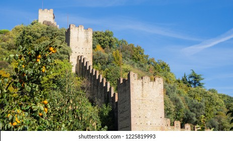 Marostica, Vicenza, Italy. The castle at the upper part of the town on the top of the hill