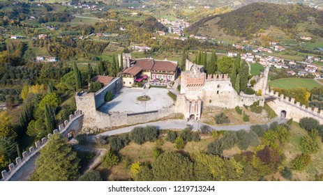 Marostica, Vicenza, Italy. October 31, 2018. Drone aerial view of the castle at the upper part of the town on the top of the hill
