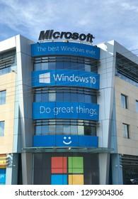 Marousi, Athens / Greece - January 29 2019:  Photo of Microsoft multinational technology company headquarters building in Marousi