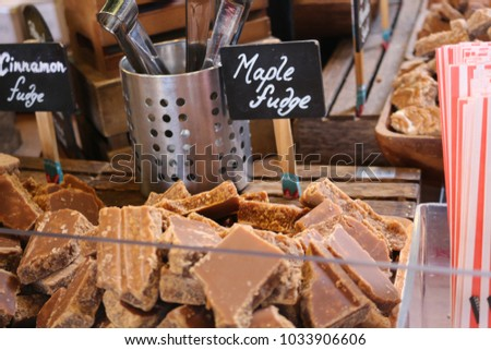 Marple fudge at a market