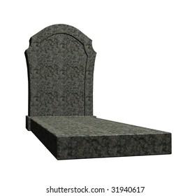 marple grave stone on white background - 3d illustration