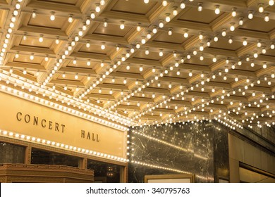 Marquee Lights on Broadway Theater Exterior Entrance Ceiling