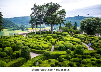 Marqueyssac, France - July 20, 2016: gardens of the castle of Marqueyssac in Dordogne Valley