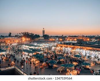 """Marrakech, Morocco - 03 10 2019"": Djemaa el Fna - famous market place of Marrakech, Morocco"