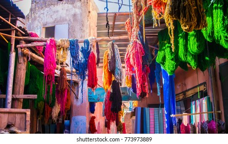 MARRAKECH, MOROCCO -15 NOV. Panoramic view of the souk of wool dry cleaners in the medina on November 15,2017 in Marrakech. The dry cleaner's souk is one of the most visited and photographed areas of