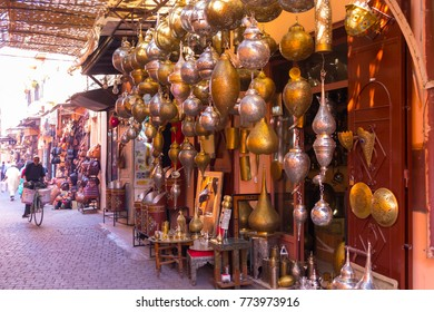 MARRAKECH, MOROCCO -15 NOV. Panoramic view of the souk of the medina on November 15,2017 in Marrakech. The souks and markets of the medina are the main tourist asset of the city.