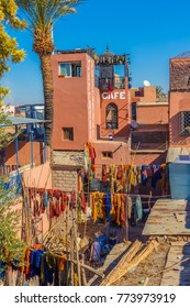 MARRAKECH, MOROCCO -15 NOV. Panoramic view of the souk of wool dry cleaners in the medina on November 15,2017 in Marrakech. The dry cleaner's souk is one of the most visited and photographed areas