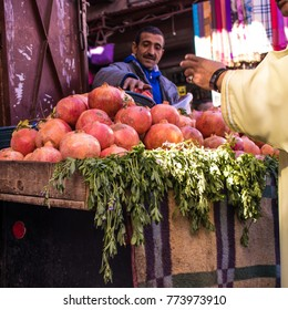 MARRAKECH, MOROCCO -15 November. Fruit stands in the souks of the Medina 15 November 2017 in Marrakech. The souks are the most typical area and visited by tourists in the city.