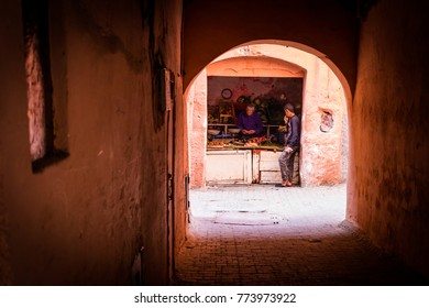 MARRAKECH, MOROCCO -15 November. Stalls for sale in the souks of the Medina 15 November 2017 in Marrakech. The souks are the most typical area and visited by tourists in the city.  pomegranate