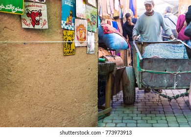 MARRAKECH, MOROCCO -15 November. Urban Scene in the souks of the Medina 15 November 2017 in Marrakech. The souks are the most typical area and visited by tourists in the city.