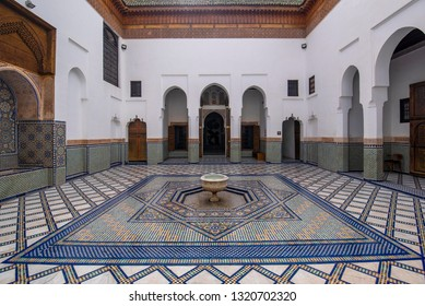 Marrakech, Morocco - 16 February, 2019: Inside interior of Dar Si Said - Museum of Moroccan Arts, Crafts, Carpets and Weaving in Marrakesh medina. The National Carpet Museum zellige tile work
