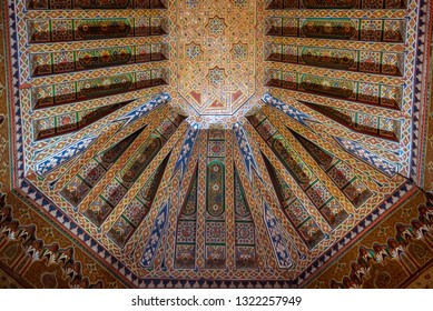 Marrakech, Morocco - 16 February, 2019: Inside interior of Dar Si Said - Museum of Moroccan Arts, Crafts, Carpets and Weaving in Marrakesh medina. The National Carpet Museum zellige tile work ceiling