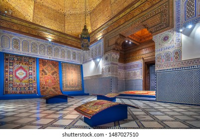 Marrakech, Morocco - 18 july, 2019: Inside interior of Dar Si Said - Museum of Moroccan Arts, Crafts, Carpets and Weaving in Marrakesh medina. The National Carpet Museum zellige tile work