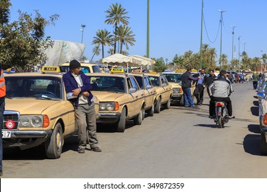 Marrakech, Morocco - 25 February 2015 - old taxis in marrakesh