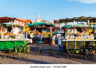 MARRAKECH, MOROCCO. 29th September, 2017: fodd stands at djemaa el fna square in marrakech