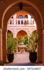 Marrakech, Morocco - 30 October 2015: Beautiful patio in a Riad  of Marrakesh Medina