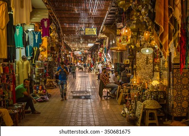 Marrakech, Morocco - 30 October 2015: A typical Friday atmosphere at the aisles Souk in Marrakesh Medina