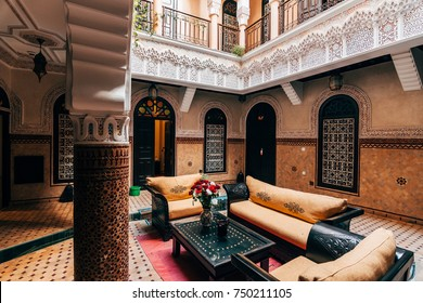 MARRAKECH, MOROCCO. 5th November, 2017: traditional riad home interior courtyard view